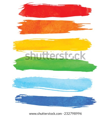 Colorful watercolor brush strokes isolated. Vector illustration #232798996