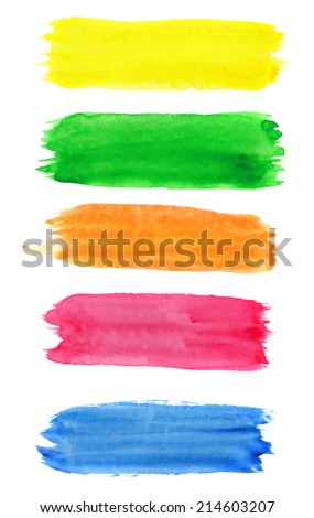 Colorful watercolor paint stain stripes #214603207