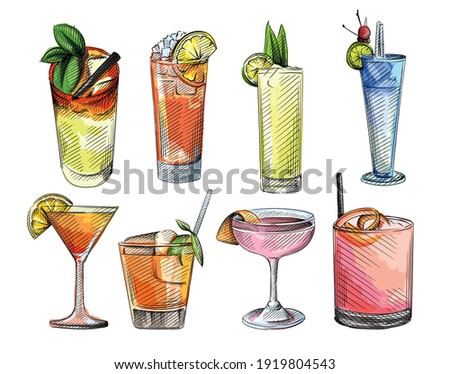 Colorful watercolor sketch set of cocktail drinks. Alcohol beverages. Cocktail drink in highball glass, champagne saucer, rocks glass, shot glass, zombie, balloon wine glass, martini