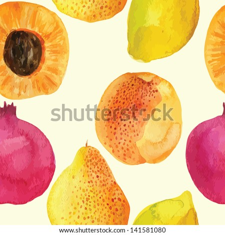 Colorful  watercolor vector fresh fruits pattern design - stock vector