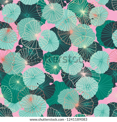 Colorful waterlily leaves in a tropical, exotic style. Seamless vector pattern or background. Ideal for home decor, fabric, paper goods, packaging.
