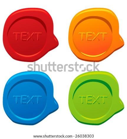 Colorful wax seals. Vector.