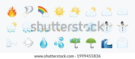 Colorful weather, climate, forecast, stars icons. Sky, clouds, meteorology vector illustration emojis, emoticons, symbols set, collection, group.