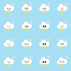 Colorful weather forecast icons. Funny cartoon lightning and clouds. Adorable faces with various emotions. Flat vector for mobile app, emoji,  sticker, children book or print. kawaii cloud character