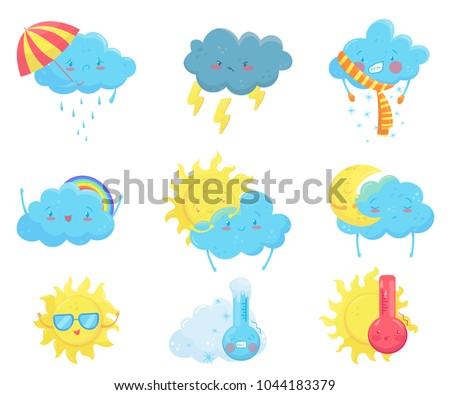 Colorful weather forecast icons. Funny cartoon sun and clouds. Adorable faces with various emotions. Flat vector for mobile app, social network sticker, children book or print