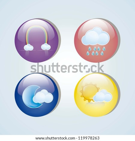 colorful weather icons in glass circles, vector illustration