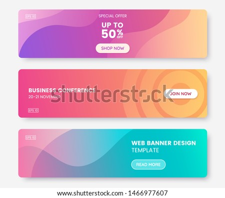 Colorful web banner with push button. Collection of horizontal promotion banners with pastel gradient colors and abstract geometric backdrop.Header design. Vibrant coupon template. Vector eps 10 ストックフォト ©