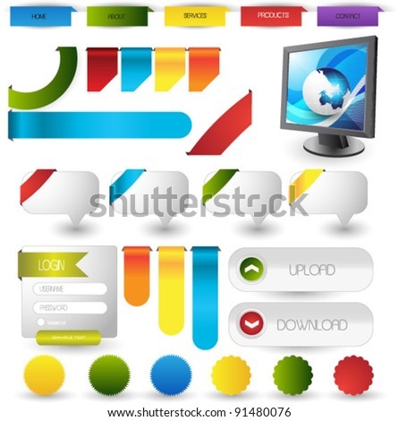 colorful web elements collection