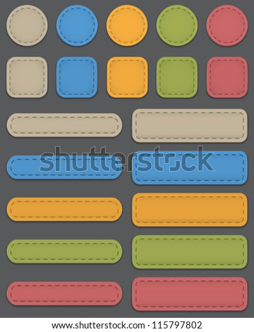 Colorful web elements made of leather. Vector illustration