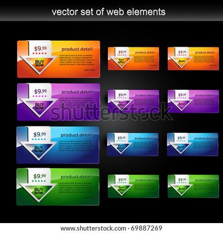 colorful web elements set - stock vector