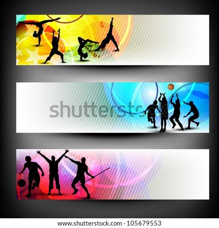 Colorful website header or banner set. Sports concept. EPS 10.