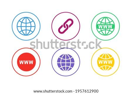 Colorful Website URL Icon Set Foto d'archivio ©
