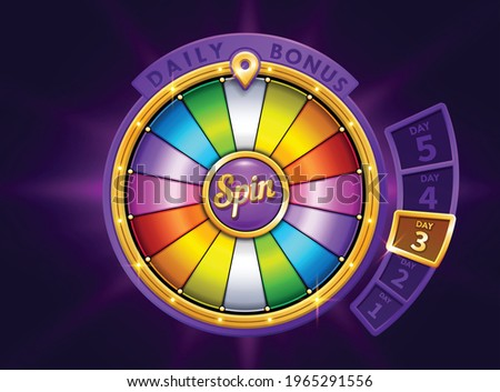 Colorful wheel of fortune. Slots or casino element design. Spinning lucky roulette vector illustration. Gamble Chance Leisure. Prize draw. daily login bonus. Jackpot Prize Stock photo ©