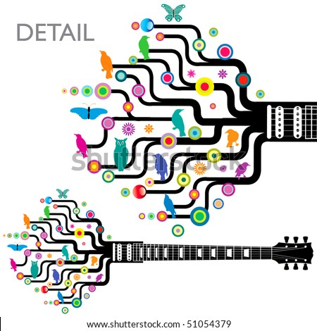 Colorful, whimsical, funky guitar in vector format