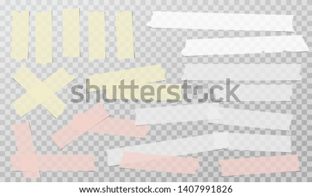 Colorful white adhesive, sticky, masking, duct tape strips for text are on squared gray background. Vector illustration