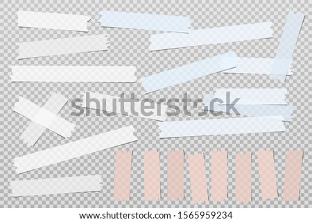 Colorful, white adhesive, sticky, masking, duct tape strips for text are on squared gray background. Vector illustration