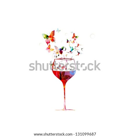 colorful wine glass design with