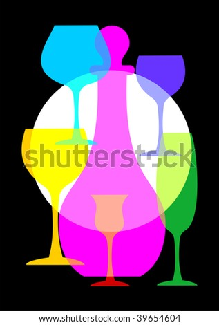 Colorful wine glasses and bottle set on black background