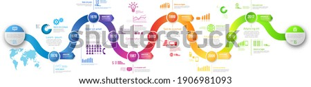 Colorful wobble template business concept wave timeline arrows. Infographics layout with 6 steps, workflow history with diagram,presentation and graph Photo stock ©