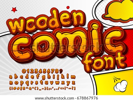 colorful wooden font on comic