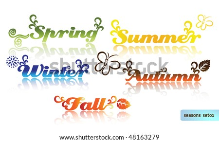 Colorful Words - Spring, Summer, Autumn, Fall, Winter Stock Vector