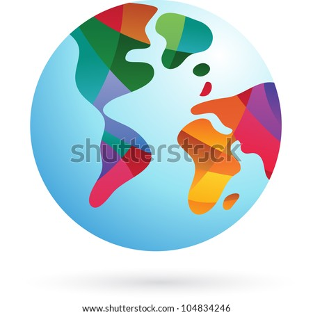 colorful world  earth icon