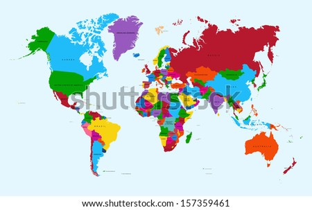 Colorful World map countries with text Atlas. EPS10 vector file organized in layers for easy editing.