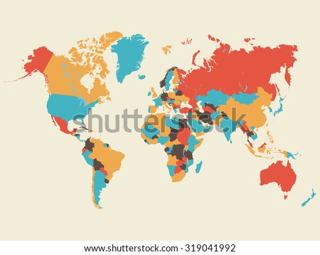 Colorful World Map Illustration #319041992