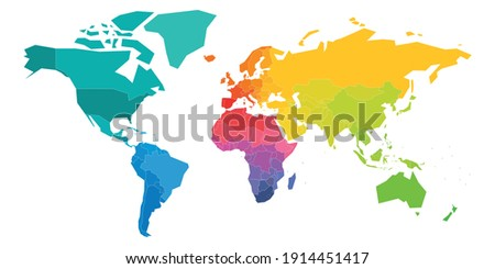 Colorful World Map in colors of rainbow spectrum. Each sovereign country in different color. Simple flat blank vector map. ストックフォト ©