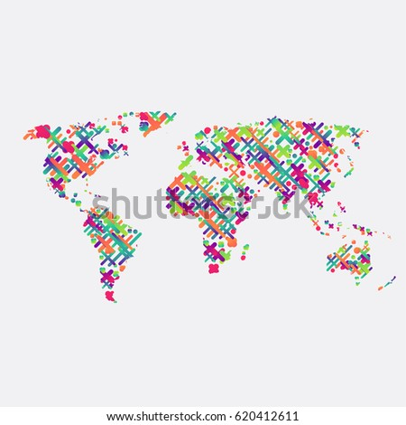 Abstract world map made with network lines descargue grficos y colorful world map made by balls and lines vector illustration gumiabroncs Choice Image