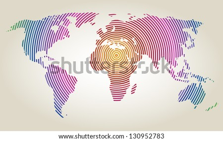Colorful world map of concentric rings, vector illustration - stock vector