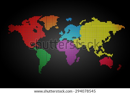 colorful world map pixel table