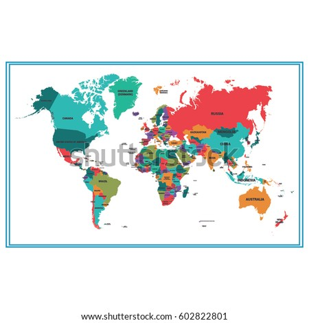 colorful world map vector #602822801