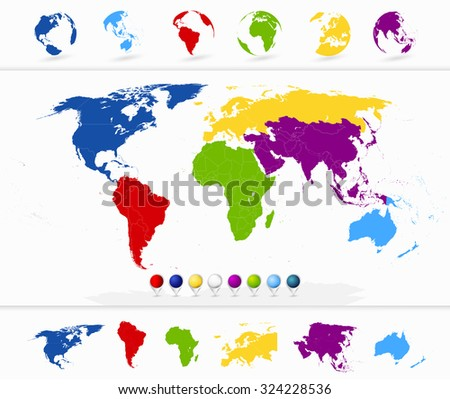 colorful blank world map continents