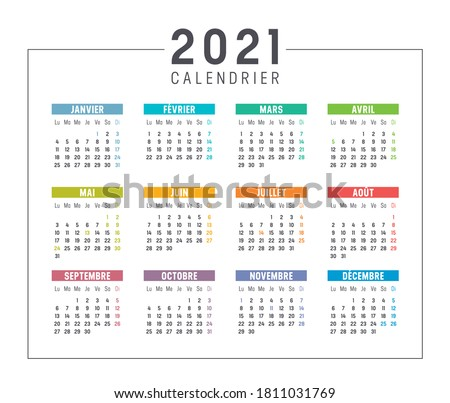 Colorful year 2021 calendar isolated, in French language, on white background. Vector template.