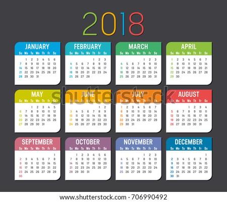 Colorful year 2018 calendar vector template