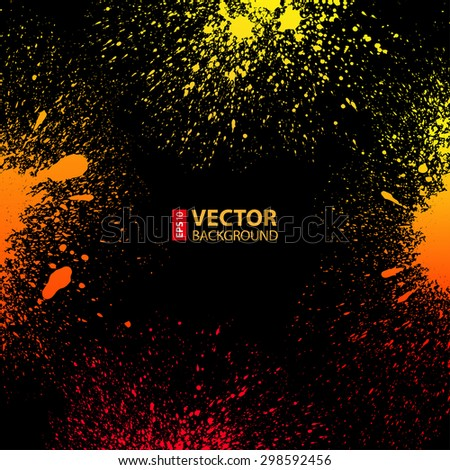 Colorful yellow, orange and red grungy gradient paint splashes on black background. RGB EPS 10 vector illustration
