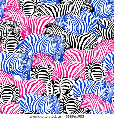 Colorful zebra seamless pattern. Savannah Animal ornament. Wild animal texture.design trendy fabric texture,  illustration.