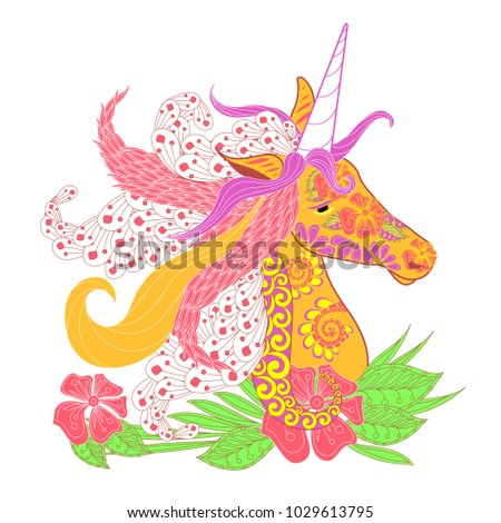 Colorful zentangle style unicorn head with lush mane stock vector illustration for print