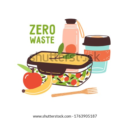 Colorful Zero Waste lunch vector flat illustration. Eco friendly durable and reusable items - thermo mug, vacuum flask, lunch box, vegan food and wooden fork isolated on white background