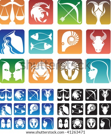 Colorful zodiac sign icons.
