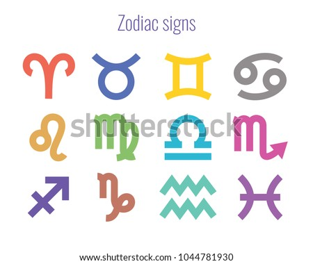 Colorful zodiac signs. Horoscope. Aries, Taurus, Gemini, Cancer, Leo, Virgo, Libra, Scorpio, Sagittarius, Capricorn, Aquarius, Pisces. Thick line icon