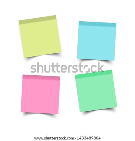 Colorfull and white stickers square. Blank colorful sticky notes set. Sticky reminder notes realistic colored paper sheets office papers with shadow.