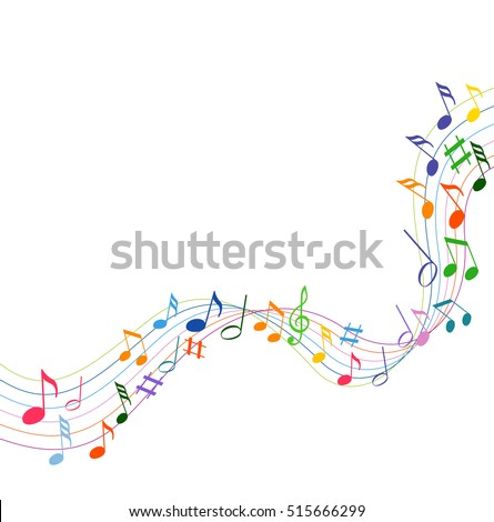 colorfull music notes on a