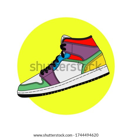 colorfull sneakers artwork vector illustration