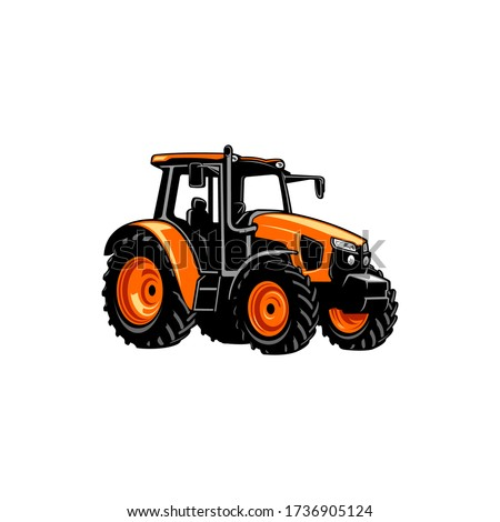 colorfull yellow tractor vector
