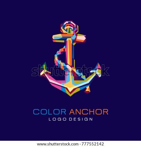 Colorfully Anchor logo. Creative logo Design