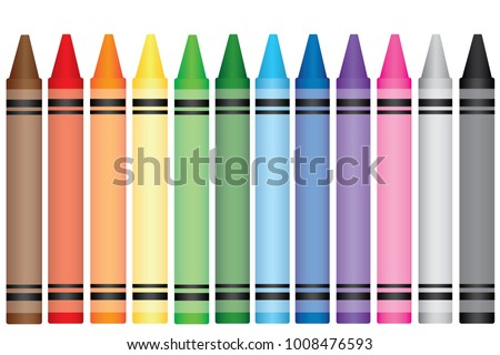 Colorfuls wax crayons on white background,Colorfuls crayons vector,Crayons, Colorful wax pencils collection, Isolated vector illustration in realism style