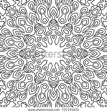 Coloring Adult Page Black And White Seamless Pattern With Tribal Zentangle Mandala