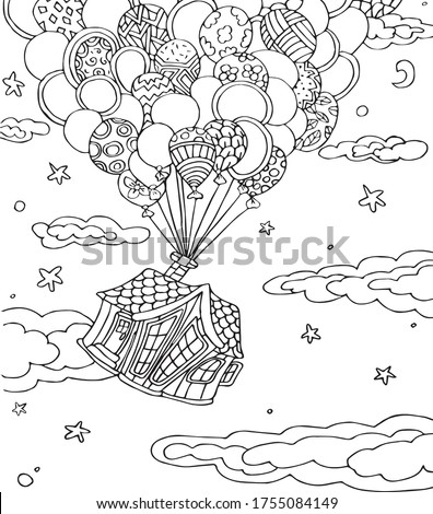 Coloring book antistress black and white vector hand-drawn picture home.  Vector illustration home for coloring, for greeting cards, posters, posters, stickers, stickers, design. Сток-фото ©